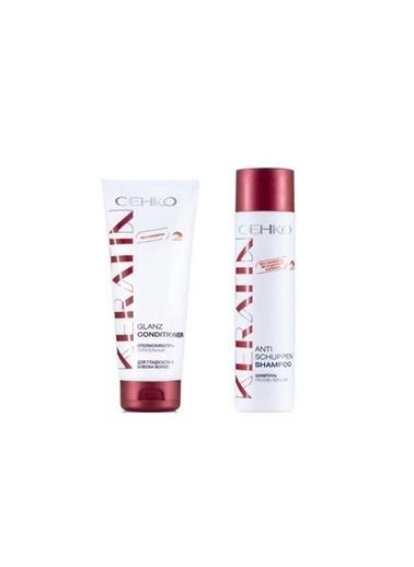 Cehko Cehko Keratin Anti Kepek Önleyici Şampuan 250 Ml+Keratin Parlatıcı Saç Kremi 200 Ml Renksiz